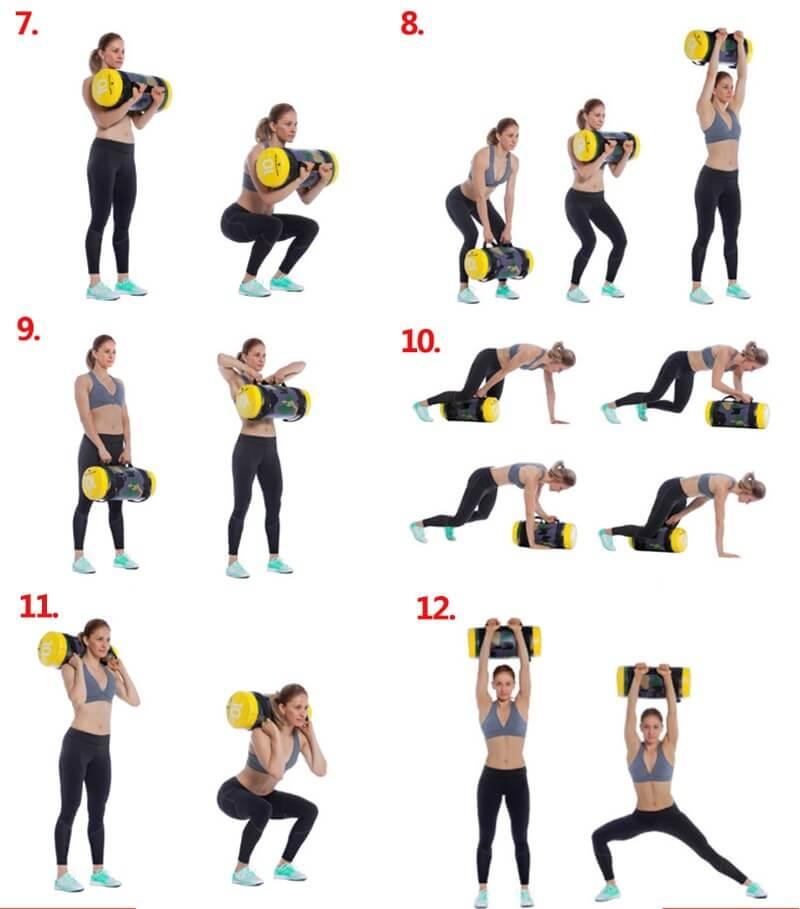 exemple série d'exercices avec le sac lesté sandbag